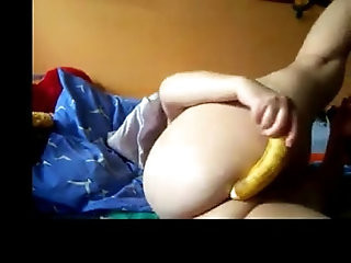Indian Aunty makes fun with banana very hot