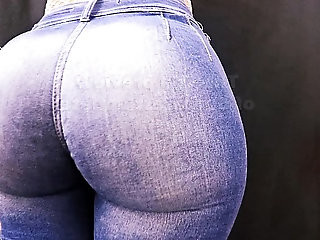Most Perfect Round Ass In Tight Jeans! Huge Ass Tiny Waist!