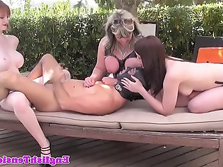 Busty british femdoms pegging dude outdoors