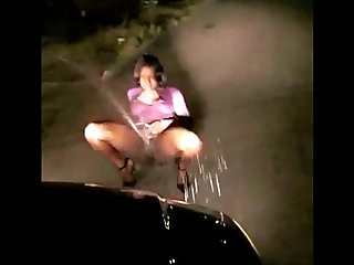 Sexy Girl Outside Squirtin On Car Out N The Street At Nite MUST WATCH
