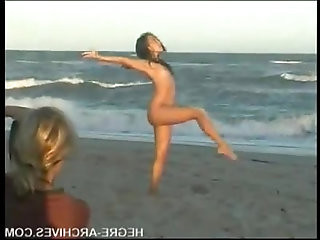 Nude Beach Yoga.