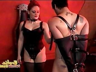 Lusty brunette slut Mistress Gemini has some with a horny stud