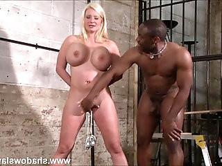 Interracial needle bdsm of busty German slave Melanie Moon in nailed tit