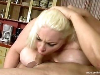 Chubby With Boobs N Belly Sucks a Huge Cock