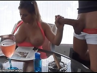 MILF pays NO attention to big cock outdoor handjob