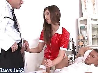 DP loving nurse gets mouth full of sperm
