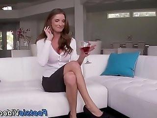 Lingerie slut footfucks