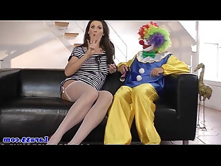 British lady in stockings milf cockriding clown