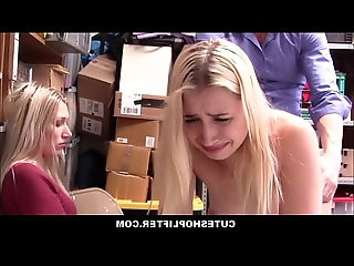 Horny Security Officer Fucks Hot Blonde Teen Daughter Sierra Nicole In Front Of Her Shoplifting Mom