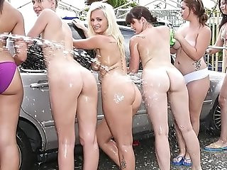 COLLEGE RULES Car Wash Orgy With Sexy Young Teen Students