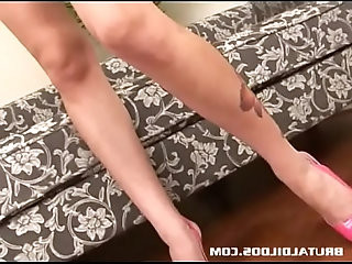 Gorgeous Audrey Elson gaping her pussy with huge anal dildo