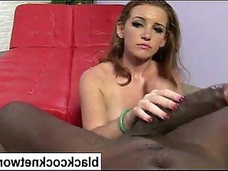 Sexy busty babe worships massive black mamba dick