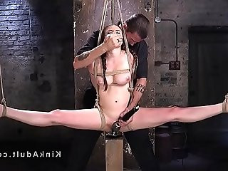 Brutal rope bondage and pussy torment