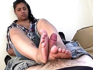Latina footjob size