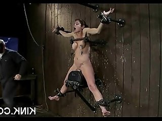 Pretty babe bound, oiled, punished