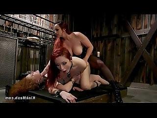 Lesbian double penetration threesome sex