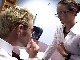 Sexy secretary sex in a bra garter and stockings